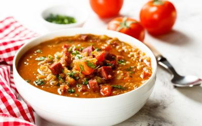 RED LENTIL SOUP WITH SAUSAGE AND BULGUR