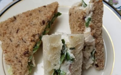 CHICKEN-ARTICHOKE SALAD AND WATERCRESS TEA SANDWICHES