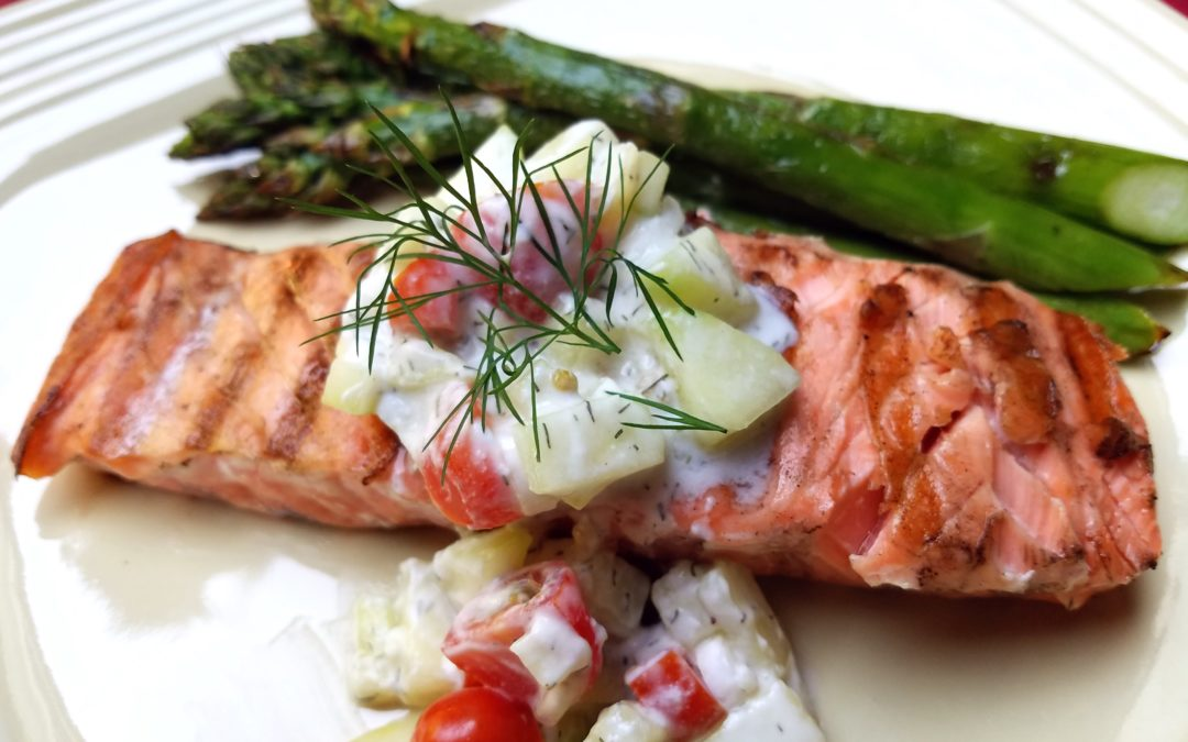 CUCUMBER-TOMATO-DILL SAUCE FOR SALMON