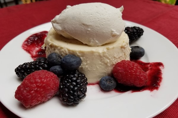 LAVENDER PANNA COTTA with LAVENDER BERRY COULIS