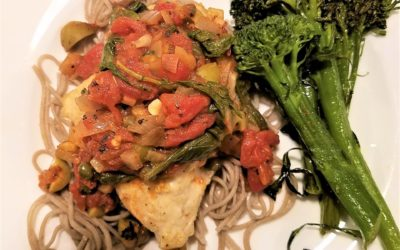 Fish with Tomatoes, Capers and Greens