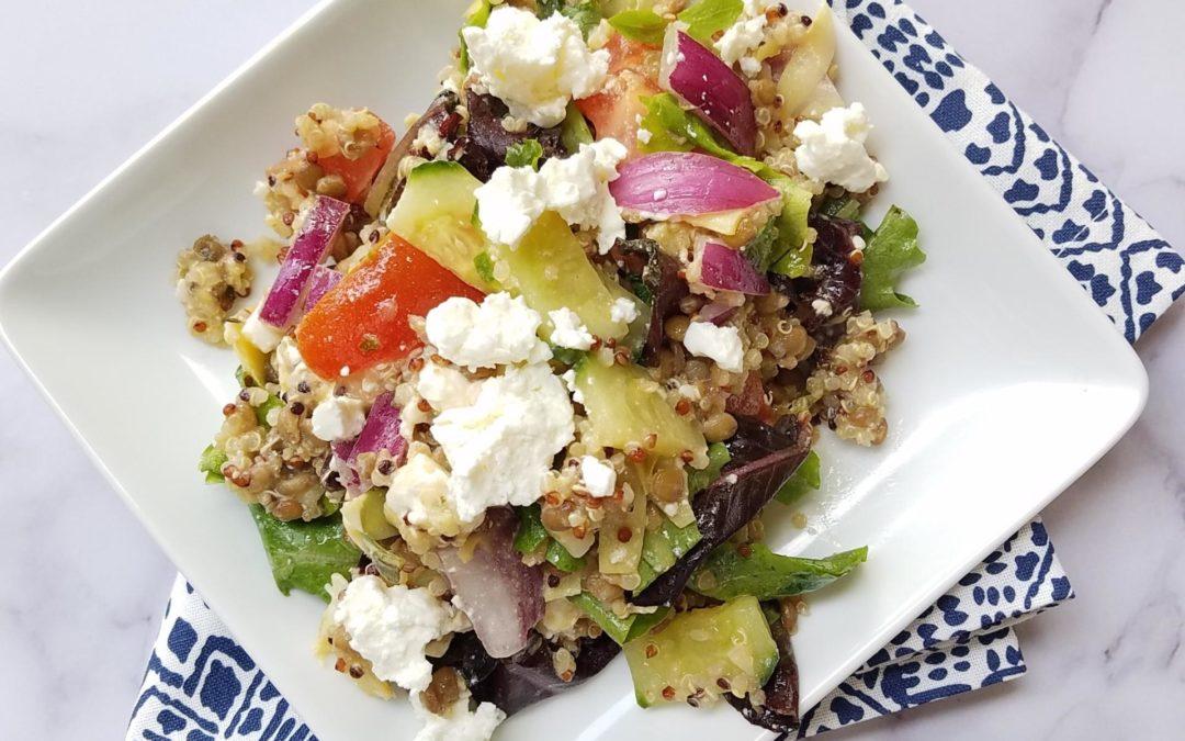 Greek Salad with Lentils and Quinoa