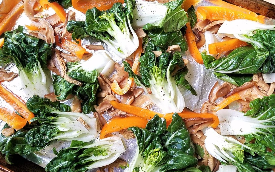 Roasted Bok Choy with Mushrooms and Peppers
