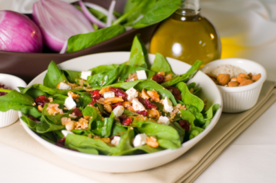 """Spinach """"Super"""" Salad with Red Wine Vinaigrette"""